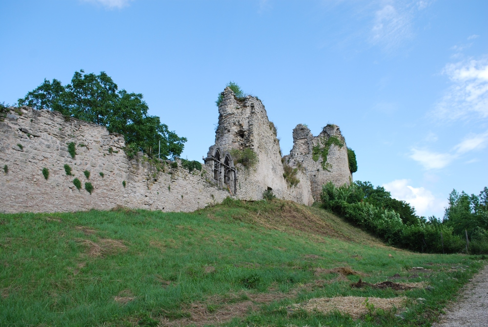 Vue de l'enceinte urbaine, de la tour d'escalier et du Donjon